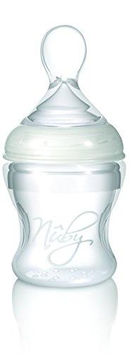 Nûby ID67275 Weithalsflasche aus mit Löffelaufsatz ab 3 Monate, 150 ml, transparent