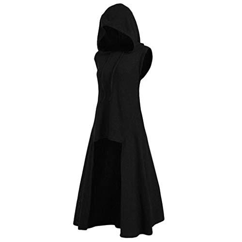 LOPILY Umhang Kleid mit Kapuze Vokuhila Cape Vampir Kostüm Halloween Erwachsener Damen Cosplay Umhang Prop für Halloween Masquerade Mittelalter Kleidung Karneval Kostüme (Schwarz, 40)