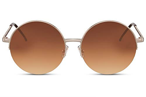 e753398405 Cheapass Gafas de Sol Gryes Redondas Semi Metal Sunnies Montura Dorada con  Lentes Graduales Marrones protección UV400 Woman