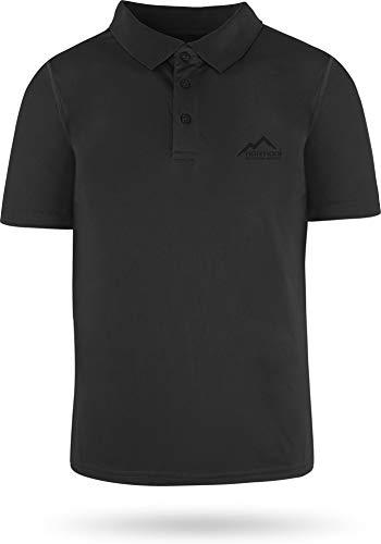 normani Sportswear Funktions-Sport Poloshirt Sporthemd für Herren mit Cooling-Material und Sonnenschutz-30+ Farbe Schwarz Größe XL -