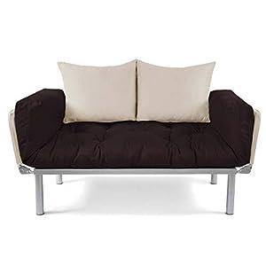 EasySitz Schlafsofa Sofa 2 Sitzer Kleines Couch 2-Sitzer Schlafsessel für Zweisitzer Personen Mein Futon Sitzen EIN Einer Farbauswahl (Braun & Creme)