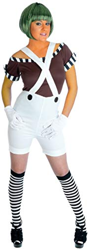 Loompa Kostüm Oompa Halloween - Fancy Me Damen 5 Stück Sexy Oompa Loompa Latzhose Perücke Buch Woche Halloween Kostüm Kleid Outfit UK 8-26 Übergröße - Weiß, Weiß, UK 20-22