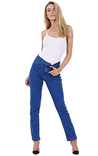 Ex Famous Store Ladies Straight Leg Womens Denim Pants Stretch Blue Regular Fit Jeans