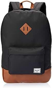 5d9fa51f75a Herschel Heritage Fabric Rucksack, schwarz, braun, 38,1 cm, Fronttasche,