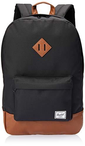 Herschel Heritage Fabric Rucksack, schwarz, braun, 38,1cm, Fronttasche, Handytasche, Reißverschluss (Heritage-rucksack Herschel)