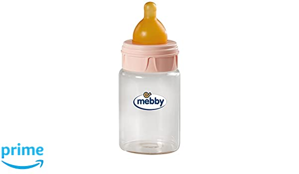 MEBBY Biberon in vetro con valvola anticolica lattice Blu 180 ml