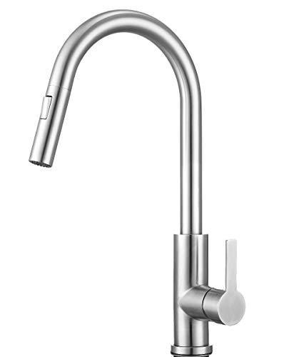 Mizzo Edelstahl Wasserhahn mit ausziehbarer Brause (Neues 2019er Modell) - 100{cea012545679f6f9d291604d75b20d100fdf39e5cbb1a634d3ec2d66d204d6e6} Edelstahl Mischbatterie - Hochdruckarmatur Küche - Spülenarmatur Küche mit ACS Zertifikat - Küchenamaturen