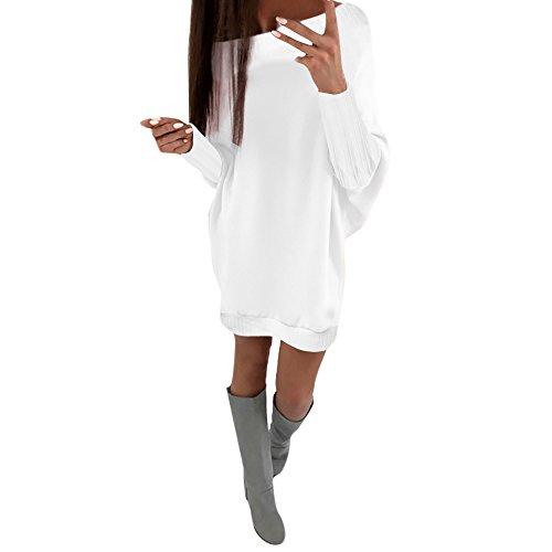 Damen Pullover Kleider Strickkleid Sweater Winterkleider Kleid Sweatkleid Strickkleider Langarm Viele Farben Oversized S-XL (S, Weiß)