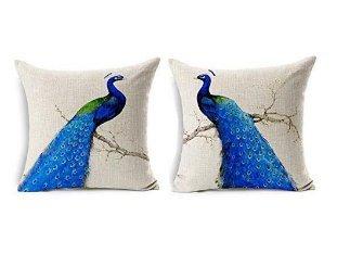 Unimall 2 pezzi cuscini in puro cotone in sofa per salotto per divano 45*45cm blu