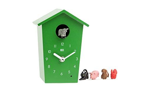 KOOKOO AnimalHouse Grün, Moderne kleine Kuckucksuhr mit 5 Bauernhoftieren, Aufnahmen aus der Natur Moderne witzige Design Uhr