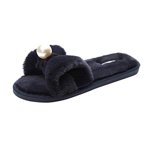 Gaddrt Frauen Fluffy Faux Pelz Flache Perle Bogen Slipper Warm halten Casual Anti-Rutsch Soft Flip Flop Sandale Sport und Outdoor Indoor Bad Sliders (39, Schwarz) (Perlen Flache Sandalen)