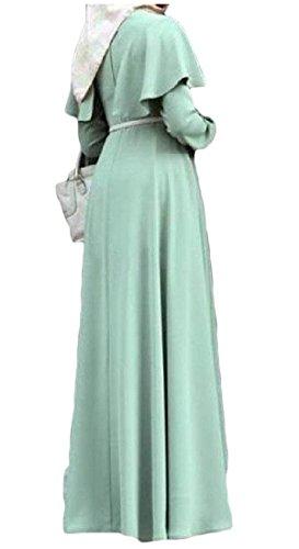 Somoll Frauen Langarm Mantel Plus Größe Muslimischen Arabischen Maxi Abaya Party Kleid Maxikleid (Color : Light Blue, Size : X-Small)