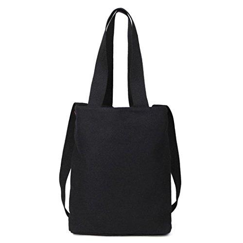 Borsa A Tracolla Canvas, Donna Moda Borsetta Canvas Borsa Grande Tote Signore Borsa Shopping Bag di Kangrunmy Nero