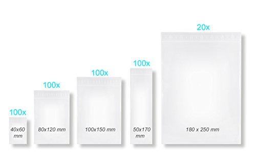 Erhard-Trading 420 Stück Druckverschlussbeutel Gleitverschlussbeutel Verschlussbeutel ZIP Sortiment/Set mit 5 Größen LDPE 50my (Zip-beutel-set)