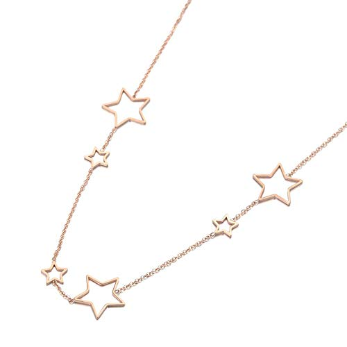 GGSYJ Einfache Durchbrochene Sterne Anhänger Halskette Schmuck Rotgold Kette Damen Anhänger Halskette