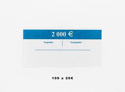 Banderolen (100 Stück) für Euro Noten Geldbanderole für Euro Geldscheine Eurobanderole für Euro Banknote (20 Euro Scheine blau) - Blaue Euro-schein
