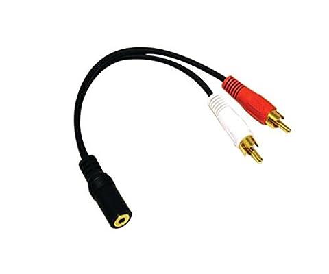 15 CM Câble RCA 1×3.5mm Stéréo Femelle vers 2 x RCA Mâle Plaqués Or Adaptateur Câbles Jack