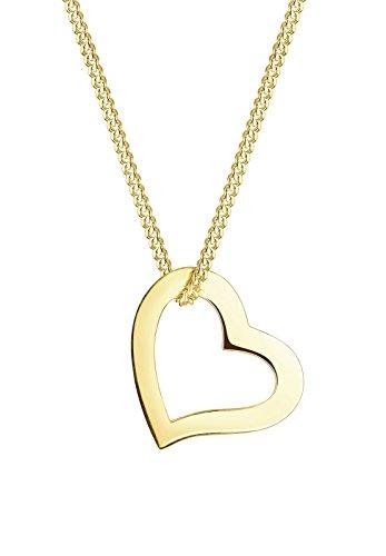 Elli PREMIUM Damen Halskette mit Herz Anhänger in 375 Gelbgold 45 cm Länge Preisvergleich