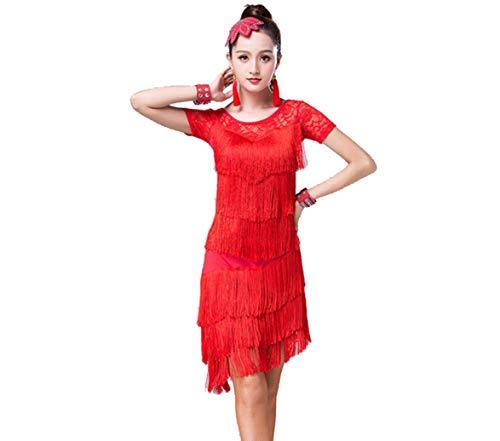 Frauen Latin Dance Kleid Openwork Spitze Anzug Tanzrock Ballsaal Salsa Quaste Tänzer Kostüm Outfit,Red,M
