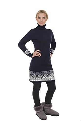 Natural Style Exklusives Langarm Strickkleid mit Rollkragen aus Wolle, Größe 38 (M), Farbe Blau