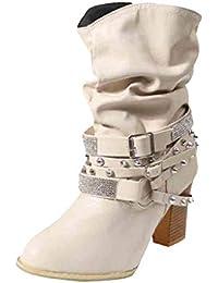 QUICKLYLY Botas de Mujer,Botines para Adulto,Zapatos Otoño/Invierno 2018 ,Retro