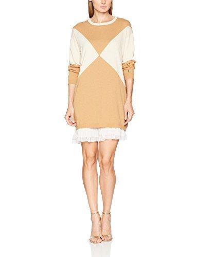 Twin Set Damen Kleid PA7311, Mehrfarbig (Honey/White Cashmere), Small