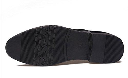 HYLM Scarpe da ginnastica del signore dei pattini di pizzo del commercio di cuoio del pattino di vestito degli uomini di black