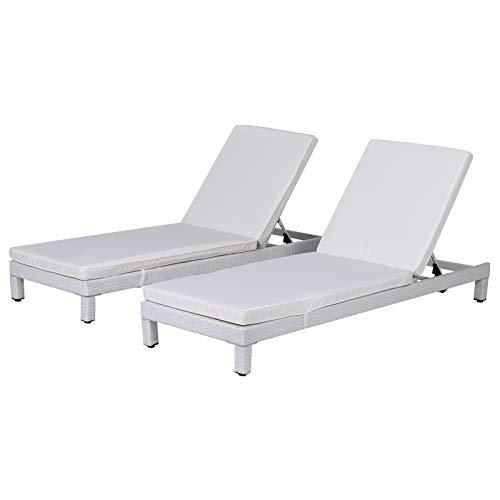 Outsunny 2er-Set Sonnenliege Gartenliege Liegestuhl Relaxliege Gartenmöbel Rückenlehne 5-stufig verstellbar mit Kissen Polyrattan + Metall Weiß + Beige 196 x 65 x 22 cm