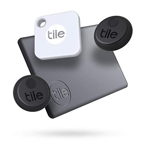 Oferta de Tile Essentials (2020), buscador de objetos Bluetooth, pack de 4 (2 Stickers, 1 Mate, 1 Slim). Compatible con Alexa y Google Smart Home, iOS y Android. Busca llaves, carteras, mandos a distancia y más
