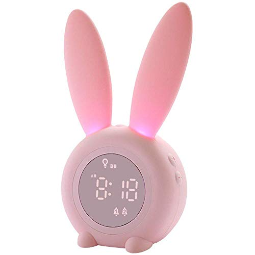 Freedomanoth Kinder Licht Wecker Cute Rabbit Leucht Elektronische Wecker Creative Table Nachttischlampe Mit Snooze-Funktion Für Kinder, Mädchen, Baby