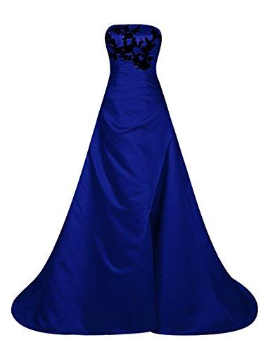 Find Dress Charmant Robe de Cocktail Longue pour Mariage Bustier Robe de Mariée Femme Princesse Fête Noel Soirée Grande Taille Gown Plissé Wedding Dress en Satin avec Broderie Bleu Foncé