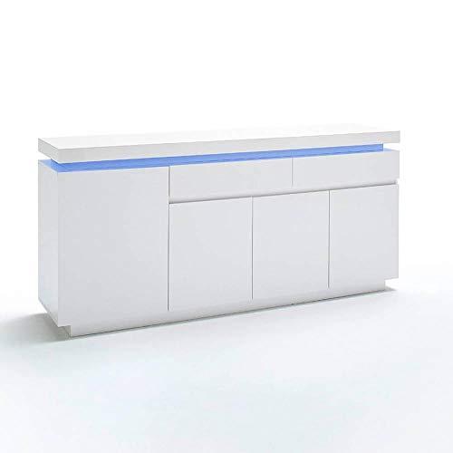 INSIDE Buffet Ocean laqué Blanc Brillant 4 Portes 2 tiroirs LED Blanc Inclus