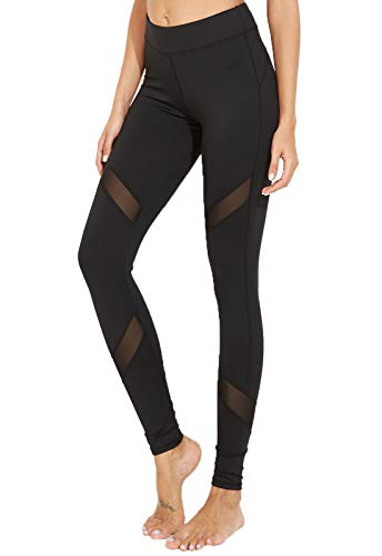 FITTOO Pantalon Yoga Legging de Sport Femme Fitness Collant avec Tulle, #2 Noir, Large
