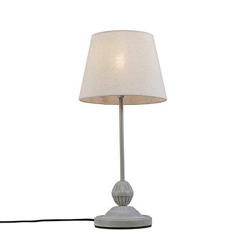 QAZQA Klassisch/Antik / Landhaus/Vintage / Rustikal/Schreibtischleuchte / Tischleuchte/Büroleuchte / Tischlampe/Lampe / Leuchte Charm grauweiß/Innenbeleuchtung / Wohnzimmer/Schlafzimmer