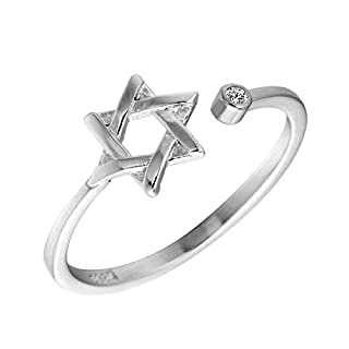 kaige Ring S925 Silberring sechs-AWN sternförmigen Offenen Verstellbaren Ring Allergie Ring senden Hausfreund Geburtstag vorhanden 7,5 mm * 1,6 mm Geschenk zu Lieben, Feriengeschenk
