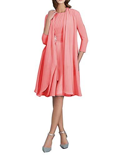 Brautmutterkleider Knielang mit Jacke A-Linie Chiffon Elegante Cocktailkleider Abendkleider...