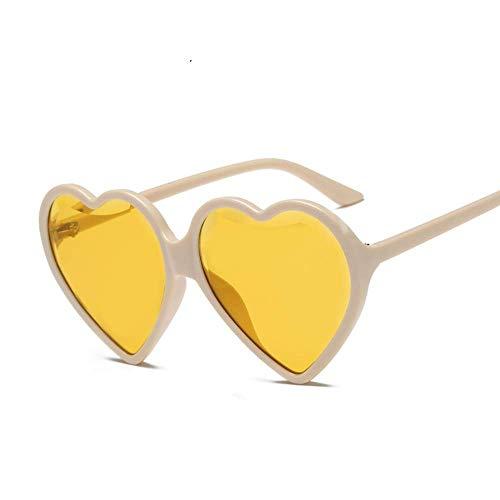 SHIYID Herz-Sonnenbrille-Frauen- Herz-Geformte Sonnenbrille- Retro Liebes-Glas-Damen-Steigungs- Sonnenbrille