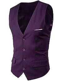 f3e08ef560464 Chaleco Traje de los Hombres Cuello En V Sin Mangas Collar Chalecos Slim  Fit Blazer Chaleco Traje de Boda 9…