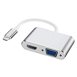 Hemobllo USB-C zu VGA Adapter USB3.1 Typ-C zu HDMI VGA Typ-C zu HDMI VGA 2 In 1 Adapter (Silber)