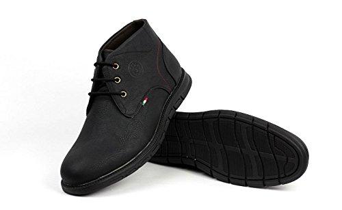 JAS moda uomo con lacci Chelsea alla moda caviglia rétro Stivali Casual Comfort UFFICIO SCARPE Nero