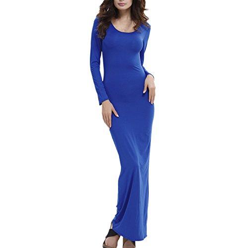 Sasairy Donna Vestito Lungo Autunno Maniche Lunghe Semplice Abito Lungo Elegante Confortevole Vestito Casual per Vita Quotidiana Blu