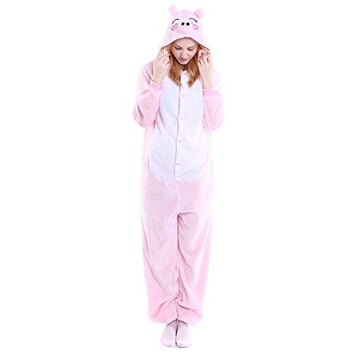 Imagen de m&a pijams cerdo animales franela disfraz cosplay para carnaval halloween navidad mujer hombre ropa de dormir rosa m