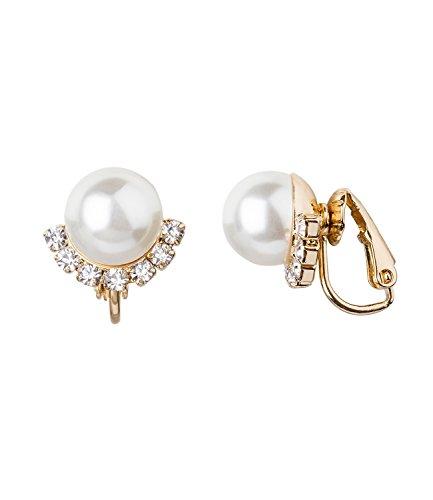 SIX'Basic' Damen Ohrringe, Ohrclips, ohne Ohrlöcher, Perlen in weiß und gold mit Glitzer Steinen (434-374)