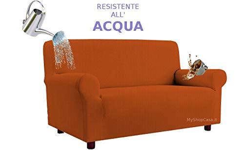 Biancheria&Casa Copridivano 3 Posti Copertura Divano Antimacchia Elasticizzato Impermeabile in Stock : Colore - Arancio