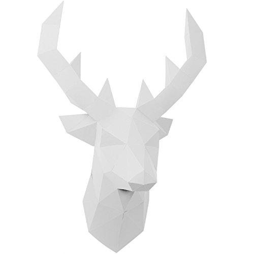 PaperShape Hirsch 3D-Papier-Tier-Safari ohne kleben, ausgeschnitten und vorgefalzt. Wandtrophäe als Deko aus FSC-Papier in 3 Farben Hirsch-Kopf Maße 55 x 41 x 29cm. Made in Germany (pure white) (Hirsch-dekoration)
