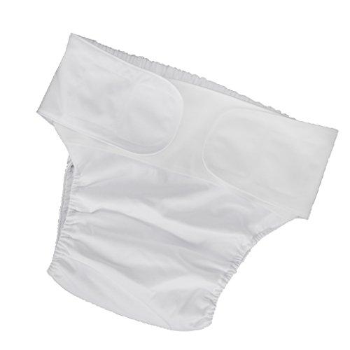 Baoblade Erwachsenen Inkontinenzwäsche Frauen Männer Windel Tuch Inkontinenz Hosen Waschbar und Wiederverwendbar - Weiß