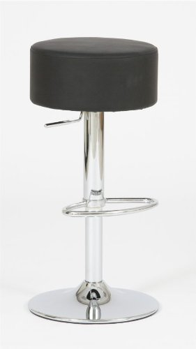 Produktabbildung von Design Barhocker Sam Lederoptik schwarz, Hocker höhenverstellbar