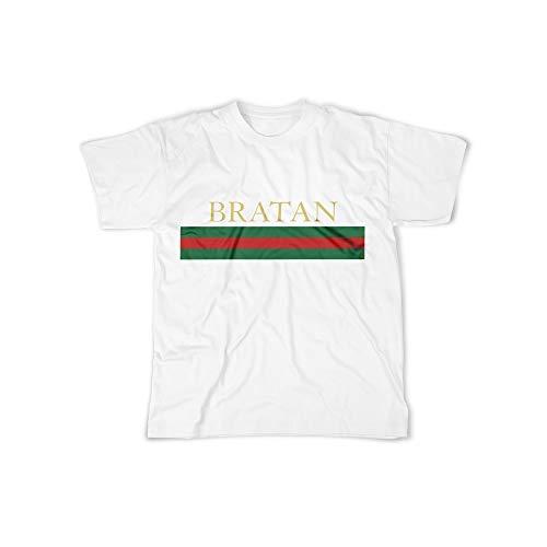 03e60db53968 Männer T-Shirt mit Aufdruck in Weiß Gr. XXL Bratan Bro Russian Rot Grün