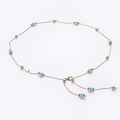 HO-TBO Frauentaillenkette Feine Perlen Taille Kette Damen Rock dekorative Gürtel Goldkette Strass eingelegten Taille Schmuck Mehrschichtige Quaste Körperkette (Color : Blue, Size : 105cm) - Taille Perlen