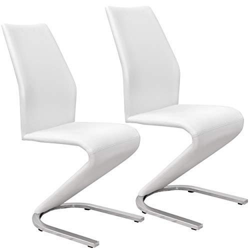 Abitti Pack 2 sillas Muy Modernas tapizadas en Color Blanco y Pata cromada 43x100cm